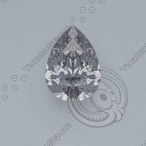 pear cut gemstone 3d model