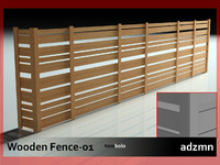 3d wooden fence wood model