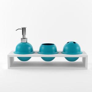 bathroom accessories set 05 3d model