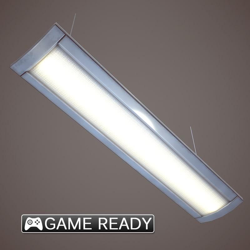 flourescent light fixture 3d obj