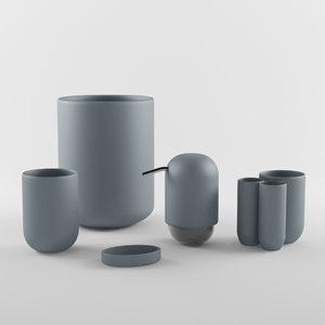 bathroom set accessories 3d model