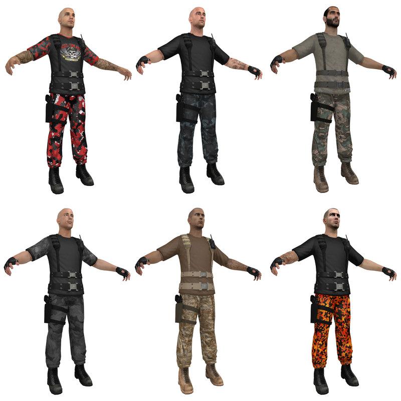 3d model mercenary soldier