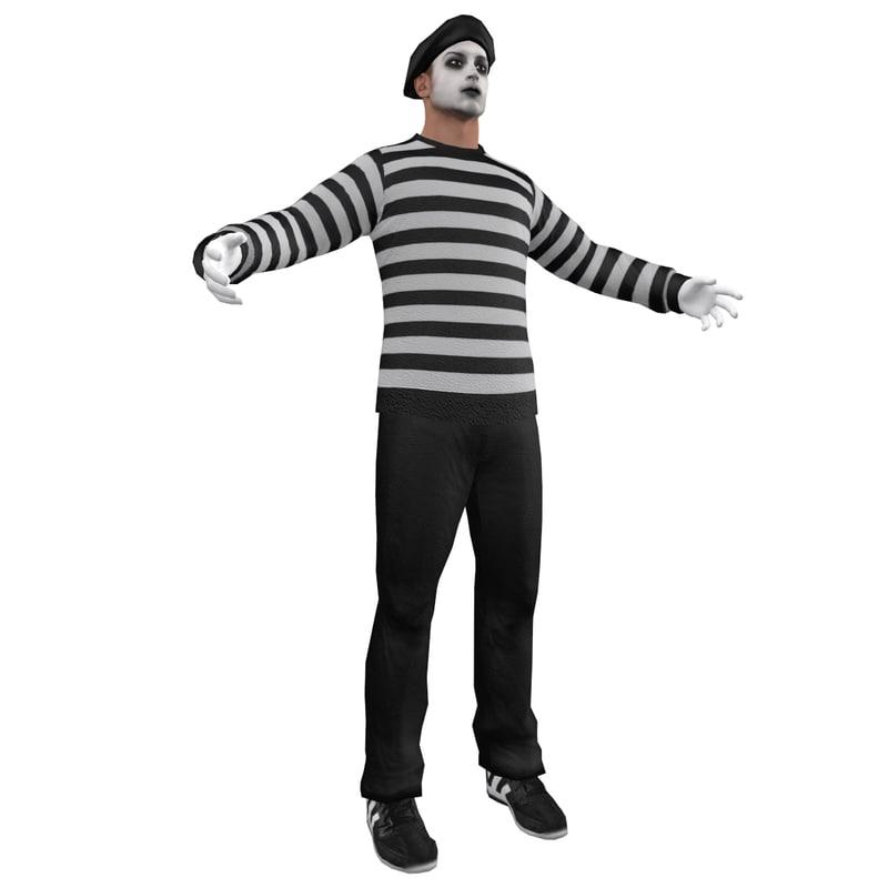 3d pantomimic man hat model