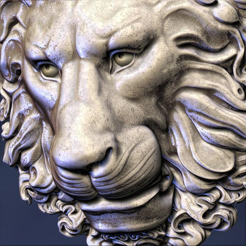 lion head decoration obj