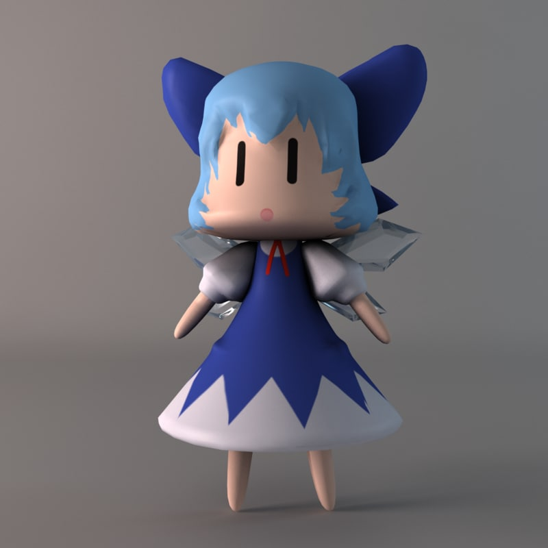 free cirno ice fairy 3d model