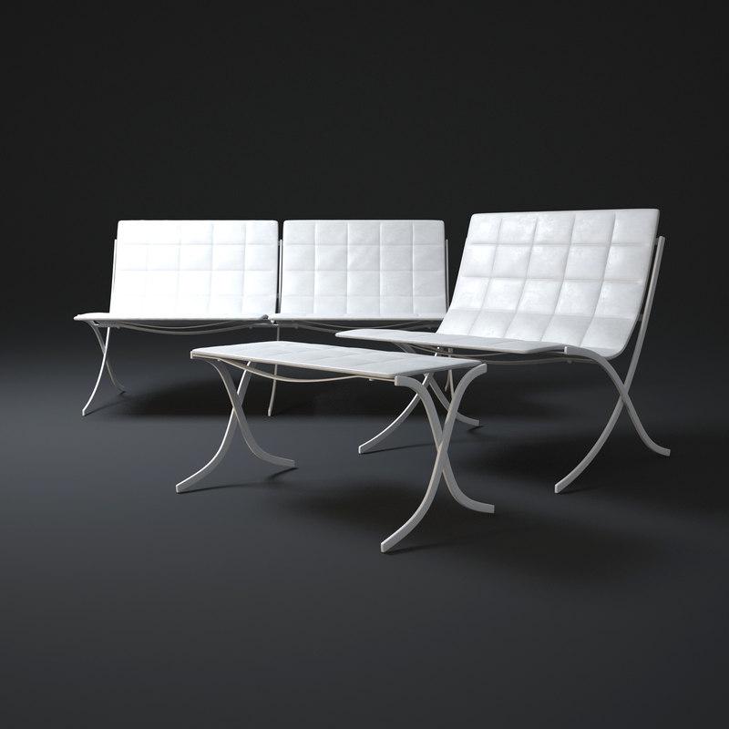 double-lounge-chair 3d model