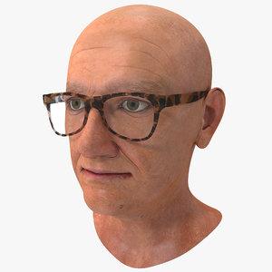 3ds max bald elderly woman head