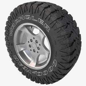 3d model goodyear wrangler tire