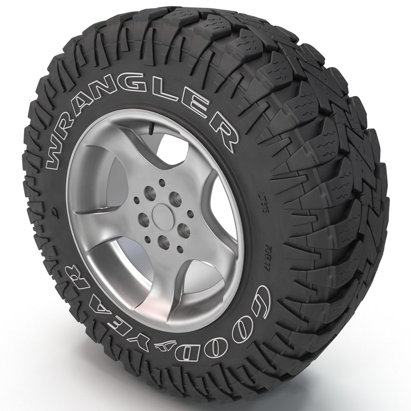 3d model goodyear wrangler tire