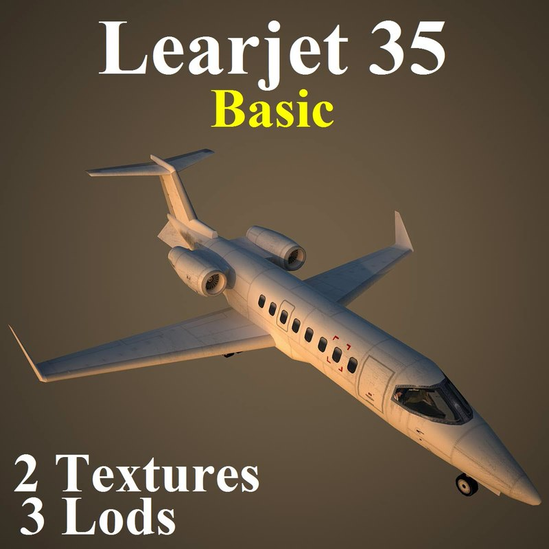 3d model learjet basic aircraft