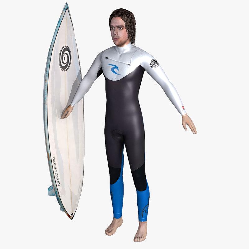 3d surfer man