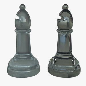 glass bishop chess piece 3d obj