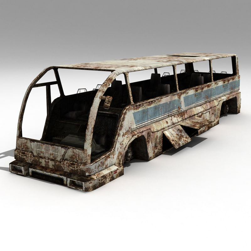 3d model wrecked bus