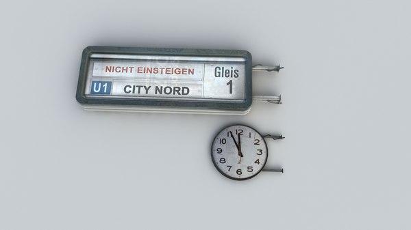 3d vintage info panel clock model