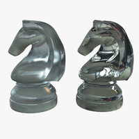 glass knight chess set 3d ma