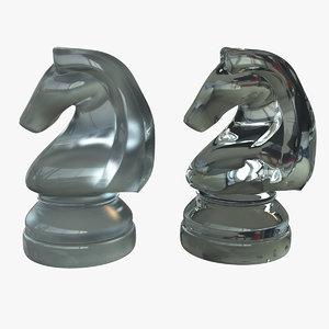 glass knight chess set 3d ma