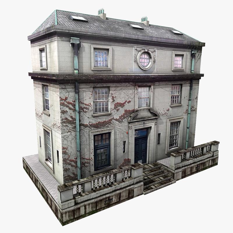 realistic european building 3d 3ds
