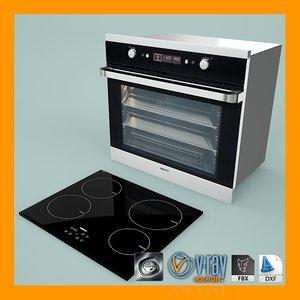 3d model oven hob installation