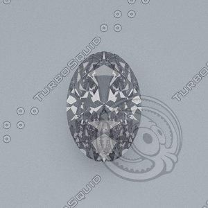 oval cut gemstone diamond 3d model