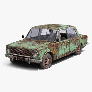 wrecked car vaz-2101 3d max