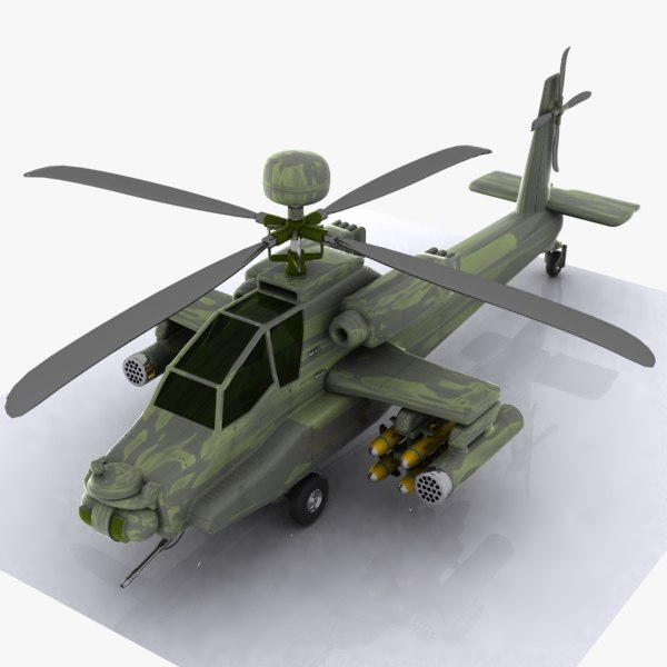 3d cartoon attack helicopter model