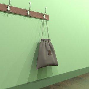 3d model bag shoes school
