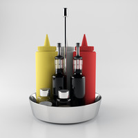 dining table housewares set 3d model