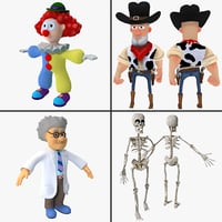 3d cartoon characters rigged