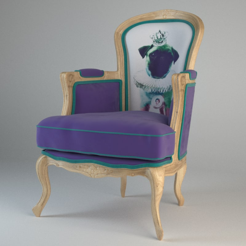 villa arm chair grandfather 3d model