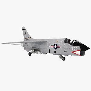 3d model of f8 crusader navy fighter aircraft