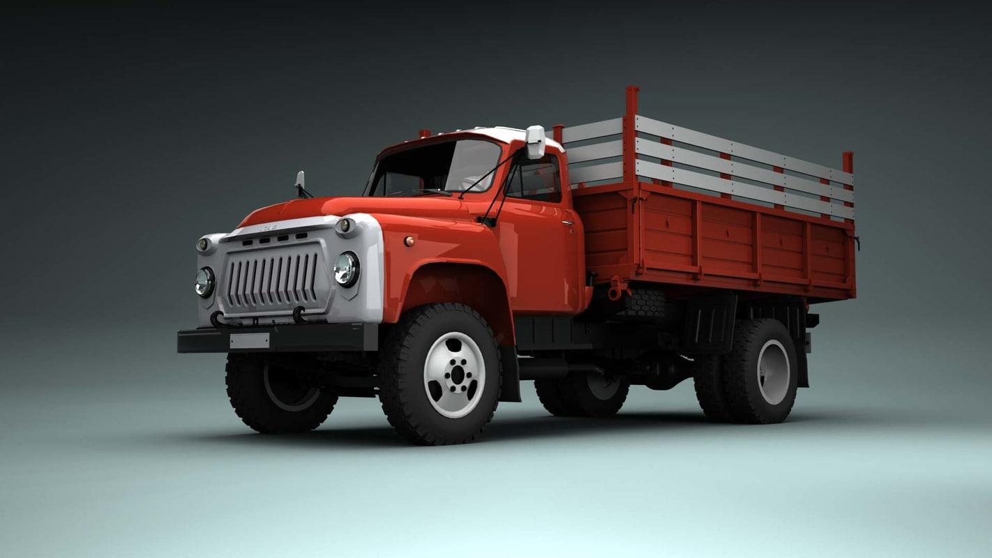 3d model soviet truck gaz 53. Black Bedroom Furniture Sets. Home Design Ideas