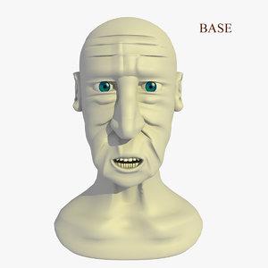 morphed head man cartoon 3d c4d