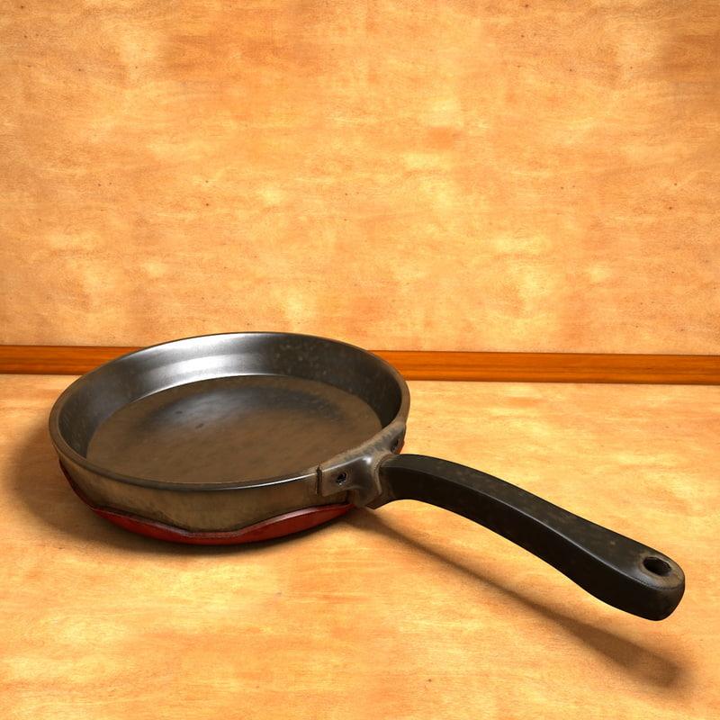 c4d worn frying pan