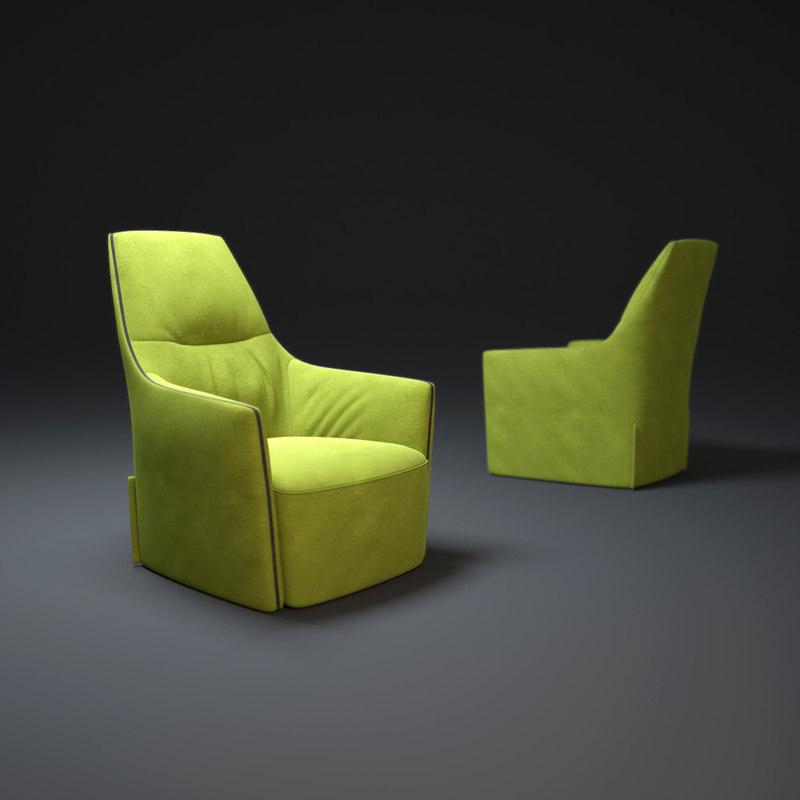 3d santa-monica-lounge-armchair model