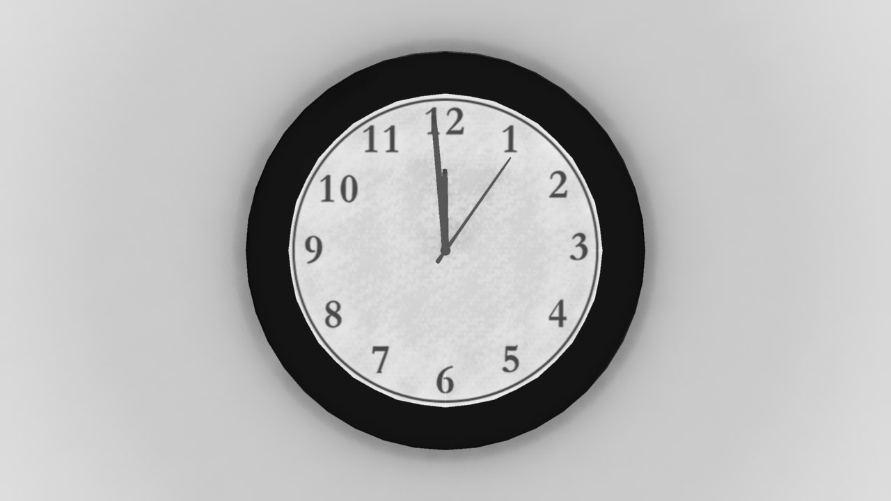 low-poly modern wall clock 3d model