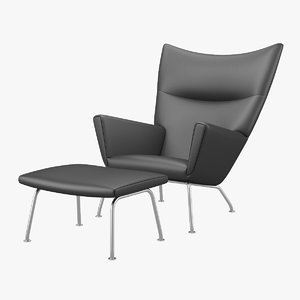 wing chair ch445 footrest 3d model