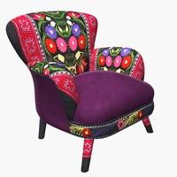 3d max armchair suzani chair