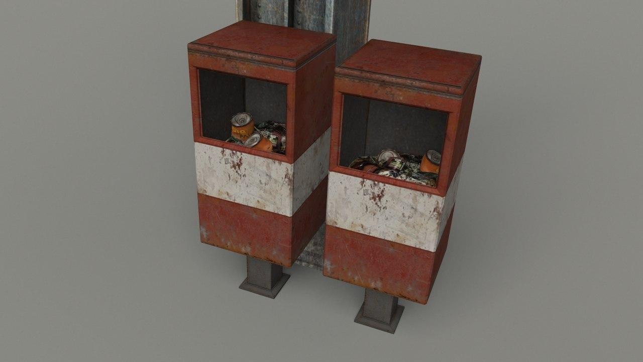 2 filled trashcans 3d x