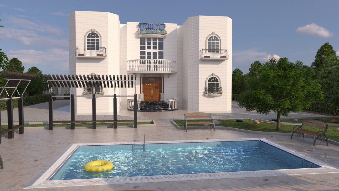 3d model residential swimming pool
