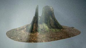old forest tree stump 3d fbx