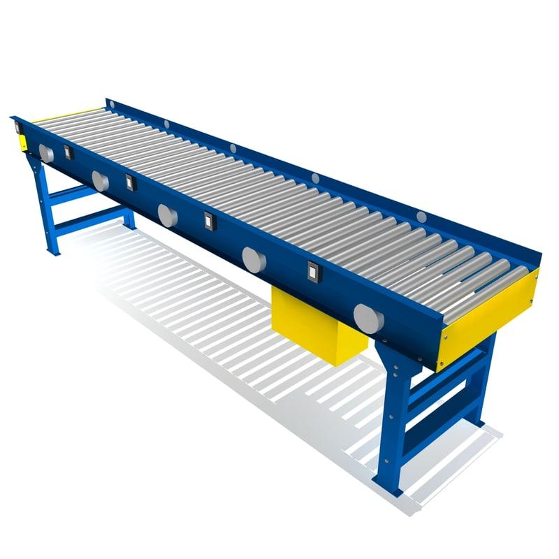 3d 3ds live roller conveyor 24