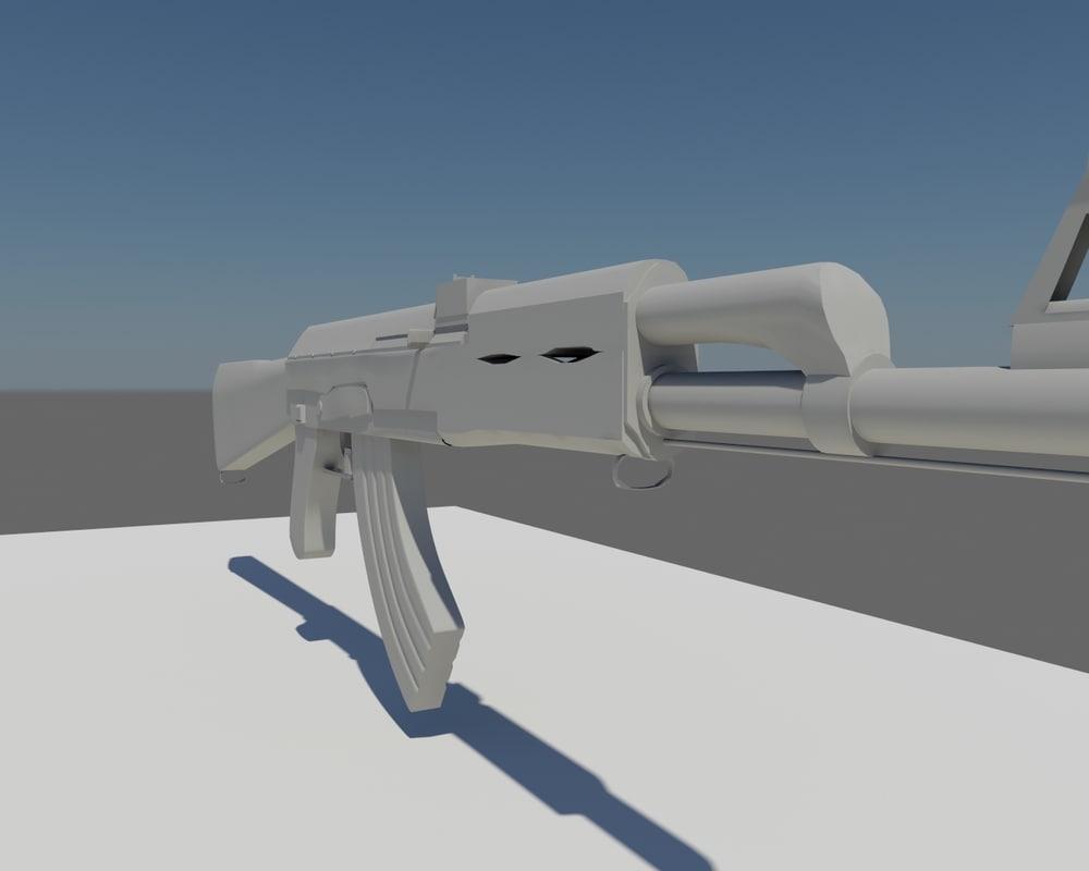ak47 weapon untextured 3d model