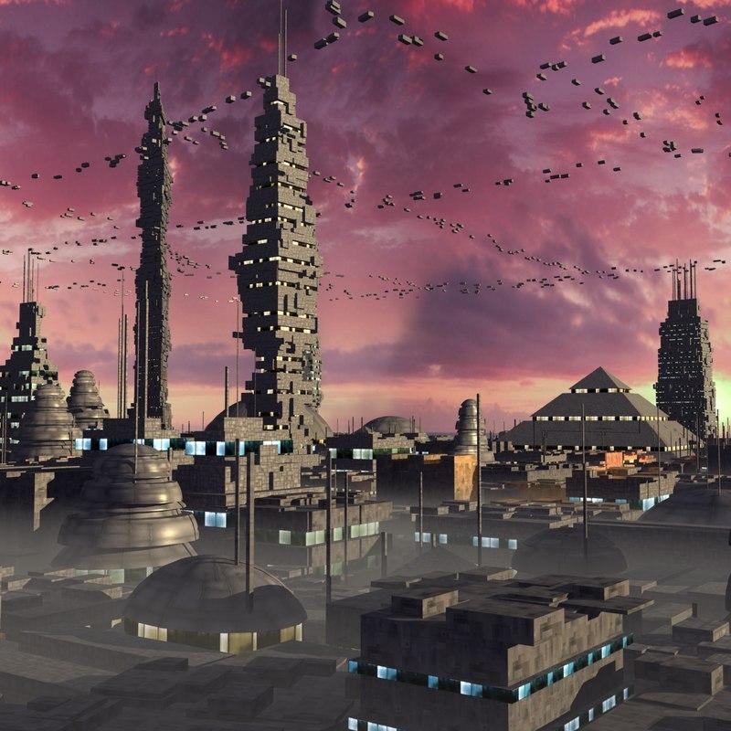 3ds futuristic alien space city
