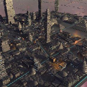 futuristic space city 3d model
