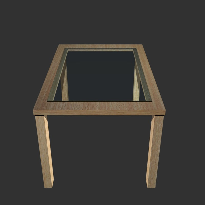 3d glass wood table wooden model
