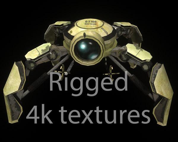 3d mini droid rigged model