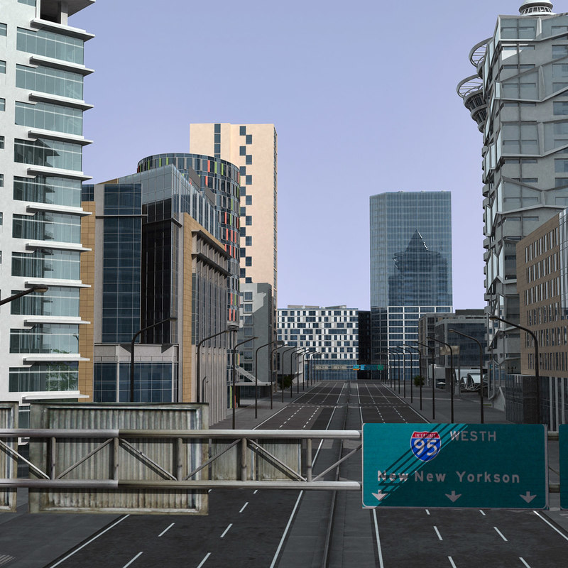 3d modern city buildings