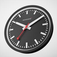 mondaine clock black 3d max
