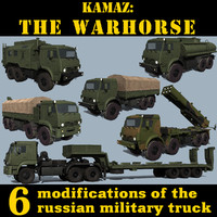 russian kamaz trucks 3d model