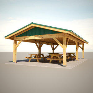 3d model park shelter tables